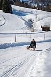 Austria, Tyrol, Hochfilzen, district Warming: ski run and toboggan run from Buchensteinwand mountain | Oesterreich, Tirol, Hochfilzen, Ortsteil Warming: Ski- und Rodelpiste von der Buchensteinwand