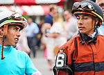July 17, 2021: Jockeys Irad Ortiz Jr. and Jose L. Ortiz before a race on opening weekend at Saratoga Race Course in Saratoga Springs, N.Y. on July 17, 2021. Dan Heary/Eclipse Sportswire/CSM