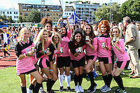 London, UK on Sunday 31st August, 2014. PowPow girl's team with Lucy Kay and Anais Gallagher during the Soccer Six charity celebrity football tournament at Mile End Stadium, London.