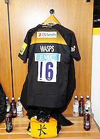 Photo: Richard Lane/Richard Lane Photography. Wasps v London Irish. Aviva Premiership. 21/12/2014. Wasps' first game at the Ricoh Arena as their new home. Wasps shirt.