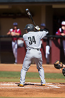 Griffin Helms (34) of the Kennesaw State Owls at bat against the Winthrop Eagles at the Winthrop Ballpark on March 15, 2015 in Rock Hill, South Carolina.  The Eagles defeated the Owls 11-4.  (Brian Westerholt/Four Seam Images)