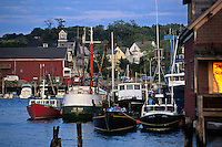 Massachusetts, Gloucester; Fishing Boats Moored At Pier; Gloucester Harbor