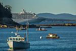 A cruise ship on Frenchman Bay in Bar Harbor, Maine, USA