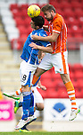 St Johnstone v Blackpool...25.07.15  McDiarmid Park, Perth.. Pre-Season Friendly<br /> Graham Cummins and Clark Robertson<br /> Picture by Graeme Hart.<br /> Copyright Perthshire Picture Agency<br /> Tel: 01738 623350  Mobile: 07990 594431