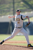February 16 2007: Aaron Shafer.of the Wichita State Shockers pitches against the Pepperdine Waves at Pepperdine University in Malibu,CA.  Photo by Larry Goren/Four Seam Images