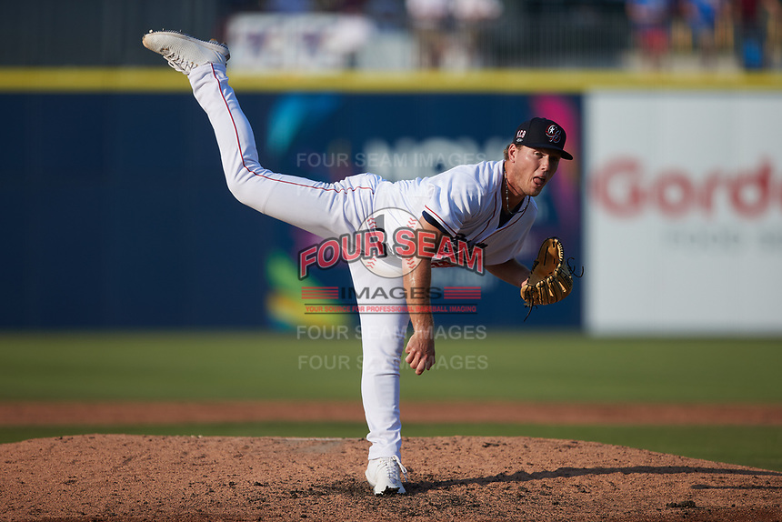 Kannapolis Cannon Ballers starting pitcher Chase Solesky (26) follows through on his delivery against the Charleston RiverDogs at Atrium Health Ballpark on July 4, 2021 in Kannapolis, North Carolina. (Brian Westerholt/Four Seam Images)