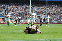 Finn Russell (Glasgow Warriors & Scotland) of Barbarians touches down during the Quilter Cup match between England and Barbarians at Twickenham Stadium on Sunday 27th May 2018 (Photo by Rob Munro/Stewart Communications)