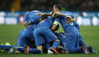 Football: Euro 2020 Group J qualifying football match Italy vs Finland at the Friuli Stadium in Udine on march  23, 2019<br /> Italy's Nicolò Barella celebrates after scoring with his teammates during the Euro 2020 qualifying football match between Italy and Finland at the Friuli Stadium in Udine, on march 23, 019<br /> UPDATE IMAGES PRESS/Isabella Bonotto