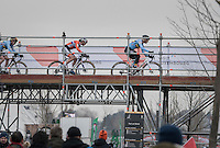 Ellen Van Loy (BEL/Telenet-Fidea) leads in the first lap ahead of Marianne Vos (NED/WM3) & Sanne Cant (BEL) over the bridge<br /> <br /> Women's Race<br /> UCI 2017 Cyclocross World Championships<br /> <br /> january 2017, Bieles/Luxemburg