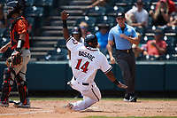 Luis Alexander Basabe (14) of the Richmond Flying Squirrels slides into home plate during the game against the Bowie Baysox at The Diamond on July 28, 2021, in Richmond Virginia. (Brian Westerholt/Four Seam Images)