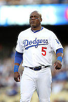 Los Angeles Dodgers third baseman Juan Uribe #5 during a game against the Houston Astros at Dodger Stadium on June 18, 2011 in Los Angeles,California. (Larry Goren/Four Seam Images)
