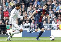 Real Madrid's Raphael Varane (l) and FC Barcelona's David Villa during La Liga match.March 02,2013. (ALTERPHOTOS/Acero) /NortePhoto