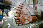 Reclining Buddha feet close up in Dambulla Cave Temple, Sri Lanka
