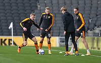 Hull City players during the warm-up<br /> <br /> Photographer Rob Newell/CameraSport<br /> <br /> The EFL Sky Bet League One - MK Dons v Hull City - Saturday 21st November 2020 - Stadium MK - Milton Keynes<br /> <br /> World Copyright © 2020 CameraSport. All rights reserved. 43 Linden Ave. Countesthorpe. Leicester. England. LE8 5PG - Tel: +44 (0) 116 277 4147 - admin@camerasport.com - www.camerasport.com