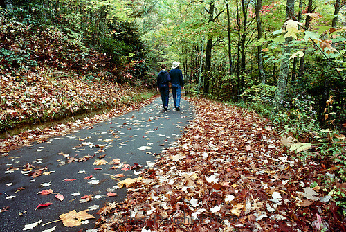 """Couple walks on community """"rails to trails"""" walking trail in fall"""