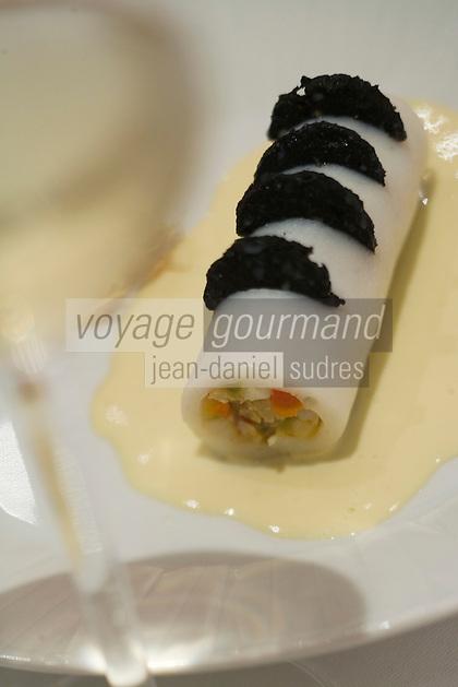 """Europe/France/Bretagne/29/Finistère/Brest: Cannellonis de seiche recette de Yvon Morvan,  chef du Restaurant """"L'Amirauté"""""""