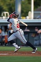 Kevin Maitan (26) of the Danville Braves follows through on his swing against the Burlington Royals at Burlington Athletic Stadium on August 14, 2017 in Burlington, North Carolina.  The Royals defeated the Braves 9-8 in 10 innings.  (Brian Westerholt/Four Seam Images)