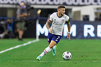 DALLAS, TX - JULY 25: Paul Arriola #7 of the United States moves with the ball during a game between Jamaica and USMNT at AT&T Stadium on July 25, 2021 in Dallas, Texas.