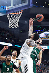 Zalgiris' Brandon Davies, Real Madrid's Walter Tavares, Real Madrid's Jeffery Taylor and Zalgiris' Leo Westermann during Euroligue match between Real Madrid and Zalgiris Kaunas at Wizink Center in Madrid, Spain. April 4, 2019.  (ALTERPHOTOS/Alconada)