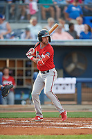 Fort Myers Miracle Aaron Whitefield (2) at bat during a Florida State League game against the Charlotte Stone Crabs on April 6, 2019 at Charlotte Sports Park in Port Charlotte, Florida.  Fort Myers defeated Charlotte 7-4.  (Mike Janes/Four Seam Images)