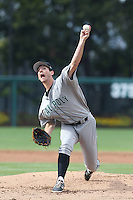 Matt Imhof #48 of the Cal Poly Mustangs pitches against the USC Trojans at Dedeaux Field on March 2, 2014 in Los Angeles, California. Cal Poly defeated USC, 5-1. (Larry Goren/Four Seam Images)