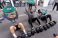 George Byers, Leroy Fer and Wilfried Bony exercise in the gym during the Swansea City Training at the Fairwood Training Ground, Swansea, Wales, UK. Thursday 22 November 2018