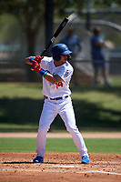 AZL Dodgers Lasorda Jaime Perez (14) at bat during an Arizona League game against the AZL Royals on July 4, 2019 at Camelback Ranch in Glendale, Arizona. The AZL Royals defeated the AZL Dodgers Lasorda 4-1. (Zachary Lucy/Four Seam Images)