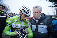 trainer Paul Van Den Bosch (BEL) checking Sven Vanthourenhout's (BEL) heartrate immediately after the race <br /> <br /> GP Sven Nys 2014