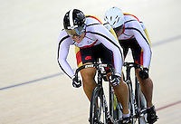 Southlands Steph McKenzie, front and Natasha Hansen compete in the sprint at the BikeNZ Elite & U19 Track National Championships, Avantidrome, Home of Cycling, Cambridge, New Zealand, Sunday, March 16, 2014. Credit: Dianne Manson