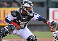Round Rock Express catcher Tomas Telis (25) during pacific coast league baseball game, Friday August 14, 2014 in Round Rock, Tex. Reno leads Round Rock 10-4 at the bottom of fifth inning in the last game of best of three series. (Mo Khursheed/TFV Media via AP Images)