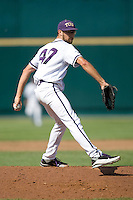 TCU starting pitcher Matt Purke in Game 11 of the NCAA Division One Men's College World Series on June 25th, 2010 at Johnny Rosenblatt Stadium in Omaha, Nebraska.  (Photo by Andrew Woolley / Four Seam Images)
