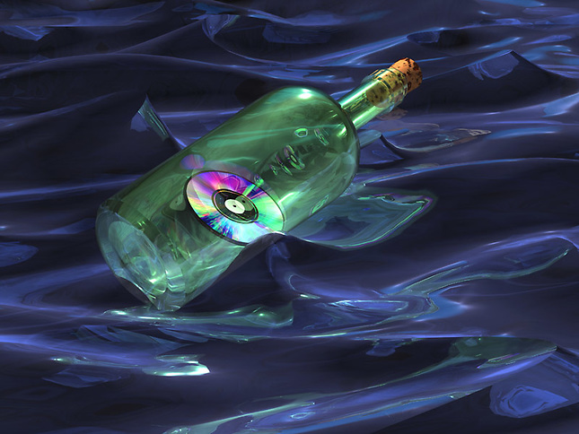 Bottle with CD floating in water