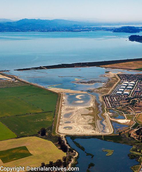 aerial photograph of Hamilton Airfield wetland restoration project, Novato, Marin county, California, 2014