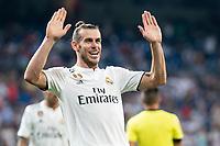 Real Madrid Gareth Bale celebrating a goal during La Liga match between Real Madrid and Getafe CF at Santiago Bernabeu in Madrid, Spain. August 19, 2018.  *** Local Caption *** © pixathlon