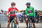 Race leader Red Jersey Primoz Roglic (SLO) Team Jumbo-Visma and Richard Carapaz (ECU) Ineos Grenadiers wearing the Green Jersey line up for the start of Stage 16 of the Vuelta Espana 2020, running 160km from Salamanca to Ciudad Rodrigo, Spain. 6th November 2020. <br /> Picture: Unipublic/Charly Lopez | Cyclefile<br /> <br /> All photos usage must carry mandatory copyright credit (© Cyclefile | Unipublic/Charly Lopez)