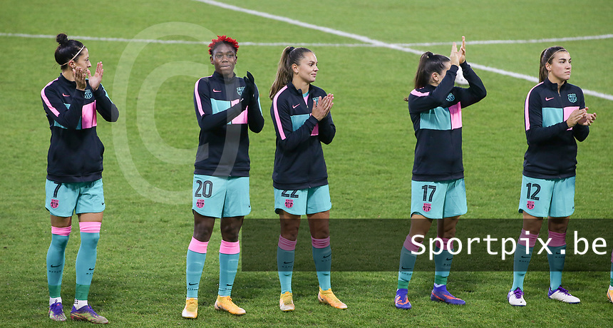 Asisat Oshoala (20 Barcelona) and Lieke Martens (22 Barcelona) pictured before a female soccer game between PSV Eindhoven Vrouwen and Barcelona, in the round of 32, 1st leg of Uefa Womens Champions League of the 2020 - 2021 season , Wednesday 9th of December 2020  in , Eindhoven, the Netherlands. PHOTO SPORTPIX.BE | SPP | SEVIL OKTEM