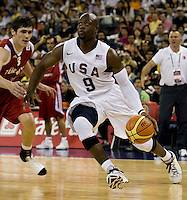 US Men's Basketball center (9) Dwyane Wade drives to the basket at the Cotai Arena in the Venetian Macau Hotel & Resort.  The US defeated Turkey, 114-82.
