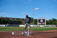 The Dehler Park grounds crew prepare the field before a Pioneer League game against the Grand Junction Rockies at Dehler Park on August 15, 2019 in Billings, Montana. Billings defeated Grand Junction 11-2. (Zachary Lucy/Four Seam Images)