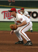 August 6, 2003:  Justin Morneau of the Red Wings, Class-AAA affiliate of the Minnesota Twins, during a International League game at Frontier Field in Rochester, NY.  Photo by:  Mike Janes/Four Seam Images