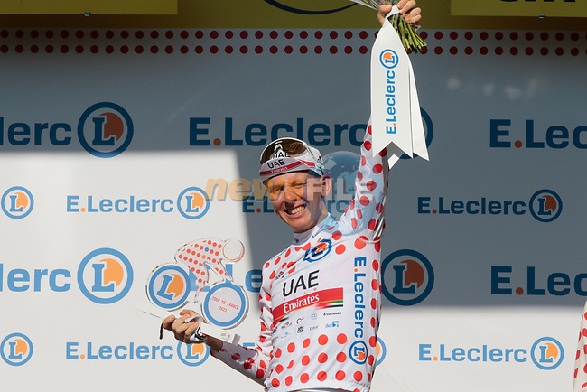 Race leader Tadej Pogacar (SLO) UAE Team Emirates also retains the mountains Polka Dot Jersey at the end of Stage 20 of the 2021 Tour de France, an individual time trial running 30.8km from Libourne to Saint-Emilion, France. 17th July 2021.  <br /> Picture: Colin Flockton   Cyclefile<br /> <br /> All photos usage must carry mandatory copyright credit (© Cyclefile   Colin Flockton)