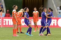 Houston, TX - Saturday June 17, 2017: Marta Vieira Da Silva congratulates Camila Martins Pereira on her goal during a regular season National Women's Soccer League (NWSL) match between the Houston Dash and the Orlando Pride at BBVA Compass Stadium.