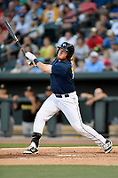 Designated hitter Dash Winningham (34) of the Columbia Fireflies bats in a game against the West Virginia Power on Friday, May 19, 2017, at Spirit Communications Park in Columbia, South Carolina. West Virginia won, 3-1. (Tom Priddy/Four Seam Images)