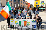 Holding a political protest in the Square in Tralee on Saturday. Kneeling l to r: Tim Finucane, Pat Lawlor, Dave Rayles and John O'Shea. Back l to r: Alan Long, Kevin Landers, Jason Devereaux, Clive O'Mara and Tommy Cahill.