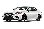 Stock pictures of low aggressive front three quarter view of 2018 Toyota Camry XSE 4 Door Sedan Low Aggressive