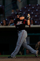 Austin Hedges #24 of the Lake Elsinore Storm bats against the Inland Empire 66'ers at San Manuel Stadium on June 23, 2013 in San Bernardino, California. Lake Elsinore defeated Inland Empire, 6-2. (Larry Goren/Four Seam Images)