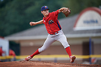 Williamsport Crosscutters starting pitcher Spencer Howard (29) delivers a pitch during a game against the Batavia Muckdogs on August 3, 2017 at Dwyer Stadium in Batavia, New York.  Williamsport defeated Batavia 2-1.  (Mike Janes/Four Seam Images)