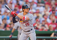 28 May 2016: St. Louis Cardinals outfielder Randal Grichuk in action against the Washington Nationals at Nationals Park in Washington, DC. The Cardinals defeated the Nationals 9-4 to take a 2-games to 1 lead in their 4-game series. Mandatory Credit: Ed Wolfstein Photo *** RAW (NEF) Image File Available ***