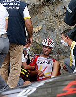 31st August 2020, Nice to Sisteron, France; Tour de France cycling tour, stage 3;  The crash of PEREZ Anthony of Cofidis, Solutions Credits as he is attended to on the road