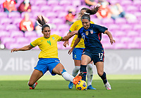 ORLANDO, FL - FEBRUARY 21: Rafaelle #4 of Brazil defends Sophia Smith #17 of the USWNT during a game between Brazil and USWNT at Exploria Stadium on February 21, 2021 in Orlando, Florida.