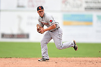 Connecticut Tigers shortstop Garrett Mattlage (1) fields a ground ball during the first game of a doubleheader against the Batavia Muckdogs on July 20, 2014 at Dwyer Stadium in Batavia, New York.  Connecticut defeated Batavia 5-3.  (Mike Janes/Four Seam Images)